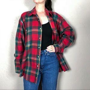 Vintage 1980s Oversized Plaid Flannel Shirt